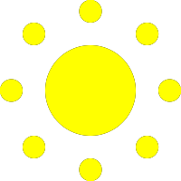 circle dots sun logo